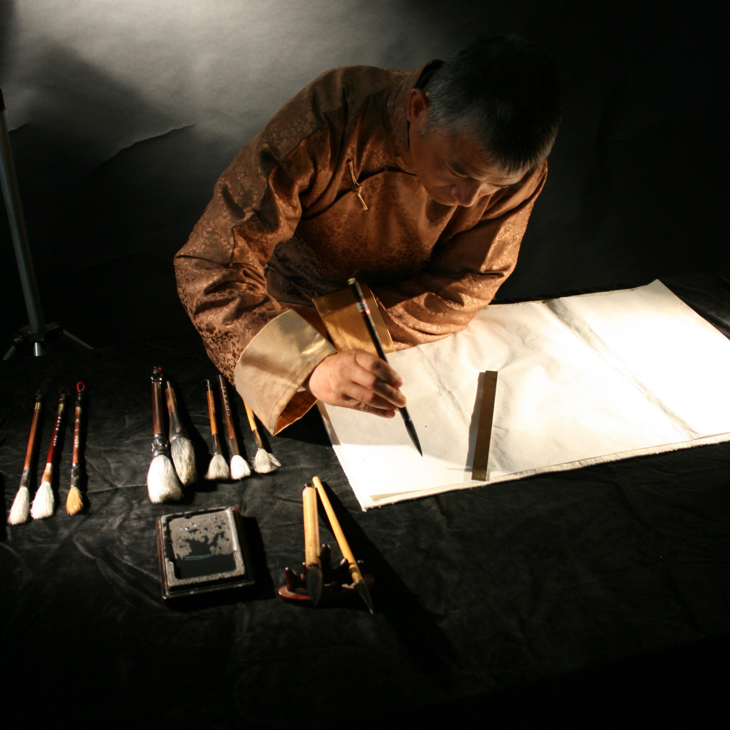 Il maestro Wang calligrafia 01